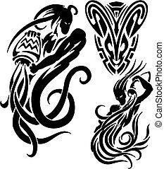 Zodiac Signs - aquarius. Vinyl-ready vector set. - Zodiac...