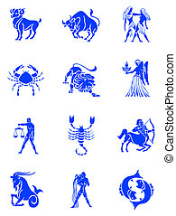 Zodiac signs - Blue illustration of the zodiac signs...