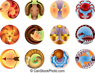 Zodiac signs circled vector set