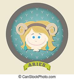 Zodiac signs collection. Cute horoscope - ARIES.