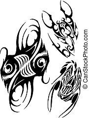 Zodiac Signs - fish and scorpion. Vector set.