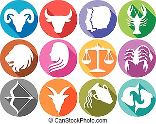 zodiac signs flat buttons