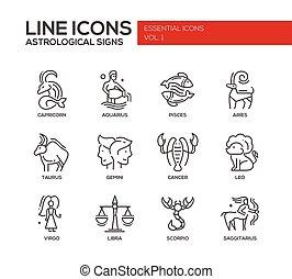 Zodiac signs icons set