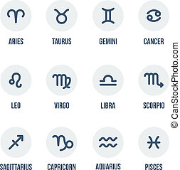 Zodiac signs. Set of simple round zodiac icons with...