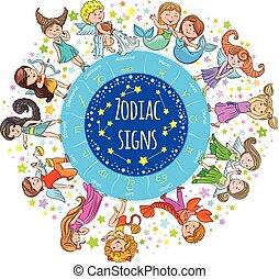 Zodiac signs kids round board