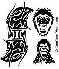 Zodiac Signs - lion. Vinyl-ready vector set.