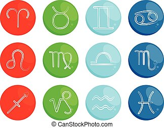 Zodiac signs on colorful background. Vector illustration.