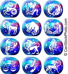 Zodiac signs on space galaxy background