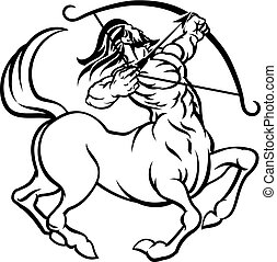 Zodiac Signs Sagittarius Centaur - A circular Sagittarius...