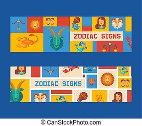 Zodiac signs set of banners vector illustration. Horoscope, astrology icons such as Aries, Taurus Gemini, Cancer Leo, Virgo Libra, Scorpio Sagittarius Capricorn, Aquarius, Pisces.