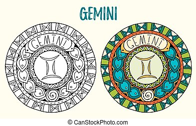 Zodiac signs theme. Black and white and colored mandalas with gemini zodiac sign. Zentangle mandala. Hand drawn mandala zodiac for tattoo art, printed media design, stickers, coloring book pages.