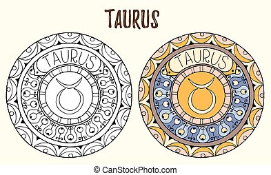 Zodiac signs theme. Black and white and colored mandalas with taurus zodiac sign. Zentangle mandala. Hand drawn mandala zodiac for tattoo art, printed media design, stickers, coloring book pages.