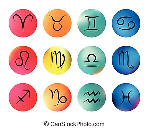 Zodiac Horoscope Signs With Dates Vector Icons On Star Map Zodiac