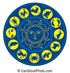 Vector illustration of the twelve zodiac signs