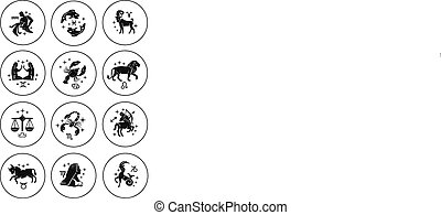 Zodiac signs vector outline icon se