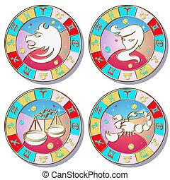 zodiac signs, vector set.
