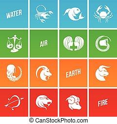 zodiac, ster, kleurrijke, tekens & borden