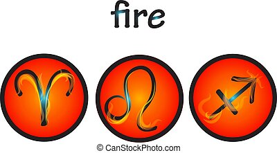 Zodiac symbols fire element