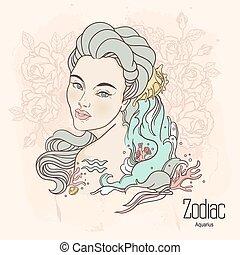 Zodiac. Vector Aquarius. - Zodiac. Vector illustration of...