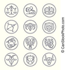 Zodiac vector astrology vector line icons. Aries and taurus, gemini and cancer, leo and virgo, libra and scorpio, sagittarius and capricorn, aquarius and pisces signs