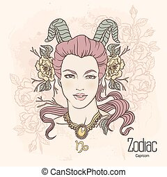 Zodiac. Vector Capricorn. - Zodiac. Vector illustration of...