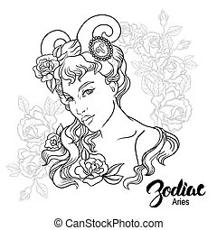 Zodiac. Vector illustration of Aries as girl with flowers. Design for coloring book page.