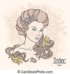Zodiac. Vector illustration of Cancer as girl with flowers. Design for coloring book page.