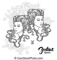 Zodiac. Vector illustration of Gemini as girl with flowers....