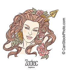 Zodiac. Vector illustration of Sagittarius as girl with flowers. Isolated on white background.