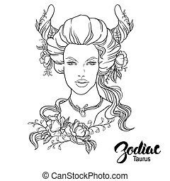 Zodiac. Vector illustration of Taurus as girl with flowers. Isolated on white background.