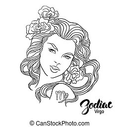 Zodiac. Vector illustration of Virgo as girl with flowers. Isolated on white background.