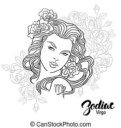 Zodiac. Vector illustration of Virgo as girl with flowers. ...