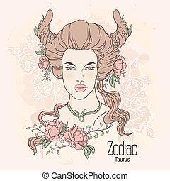 Zodiac. Vector Taurus - Zodiac. Vector illustration of...