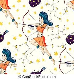 zodiac, vector, teken., meisje
