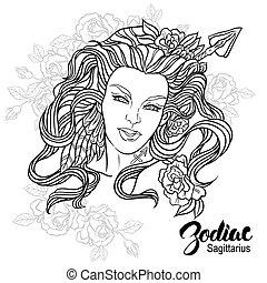 zodiac., vetorial, sagittarius, desenho, menina, page., flowers., coloração, ilustração, livro