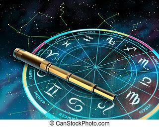 Zodiac - Wheel of the zodiac and telescope over a sky...