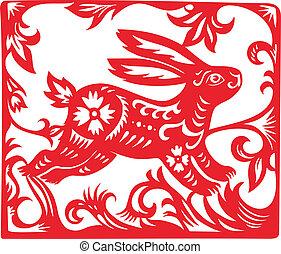zodiac, year., konijn, chinees