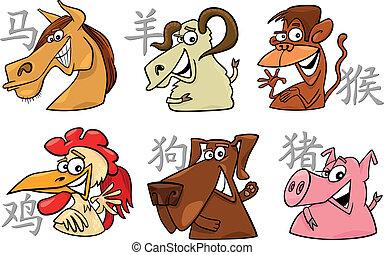 zodiac, zes, chinees, tekens & borden