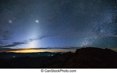 Zodiacal Light and the milky way over the mountain at early...