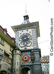 zodiacal, suiza, reloj, berna, famoso, zytglogge