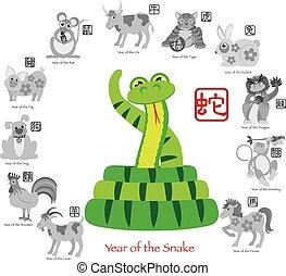 zodiaci, dodici, cinese, colorare, illustrazione, serpente, anno, nuovo