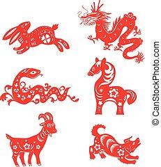 zodiaco, animali, cinese