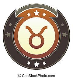zodiaco, bottone, toro, imperiale