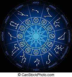 Oroscopo cerchio vettore sfondo nero segni zodiaco cartone
