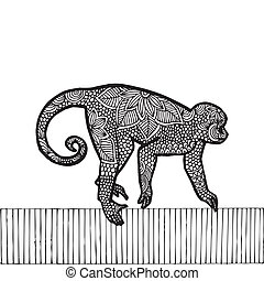 zodiaco, monkey-, nero, cinese