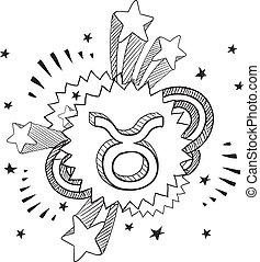zodiaco, schizzo, toro