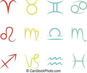 zodiaco, set, segni
