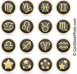 zodiaco, set, simbolo, icona