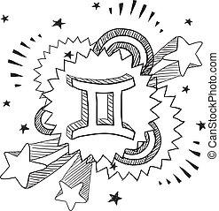 zodiaco, vettore, gemelli, pop