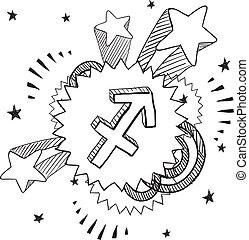 zodiaco, vettore, sagittario, pop